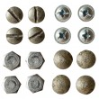 Screw, bolt, rivet head collection isolated on white with variou — Stock Photo