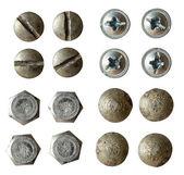 Parafuso, parafuso, rebite cabeça coleção isolada no branco com variou — Foto Stock