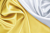 Gold and white silk background — Stock Photo