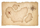 Old treasure map isolated. Clipping path is included. — Foto Stock