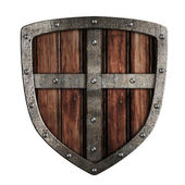 Old crusader wooden shield illustration isolated on white — Stock Photo