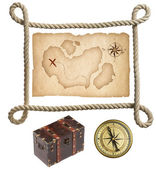 Old treasure map, rope frame, chest and compass isolated on whit — Foto Stock
