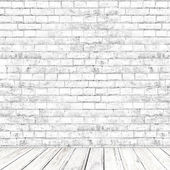 White brick wall room with wooden floor as background — Stock Photo