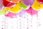 Globos con serpentinas para la celebración de la fiesta de cumpleaños — Foto de Stock