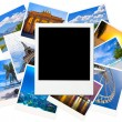 Instant photo frame over traveling pictures isolated on white — Stock Photo