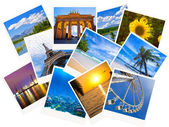 Traveling photos collage isolated on white background — Stock Photo