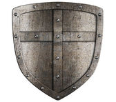 Crusader metal shield illustration isolated on white — Stock Photo