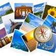 Traveling photos collage with gold compass isolated on white - Stock Photo