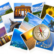 Traveling photos collage with gold compass isolated on white - Stockfoto