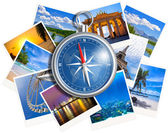 Traveling photos collage with compass isolated on white backgrou — Stock Photo