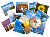 Traveling photos collage with gold compass isolated on white — Stock Photo