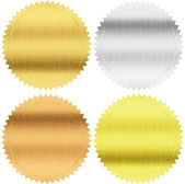 Gold, silver and bronze seals or medals isolated with clipping path included — 图库照片