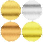 Selos ouro, prateado e bronze ou medalhas isoladas com traçado de recorte incluído — Foto Stock