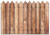 Old wooden fence isolated on white — Stock Photo