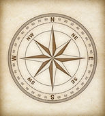 Compass rose on old paper — Stock Photo