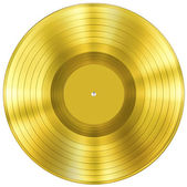 Gold disc music award isolated on white — ストック写真