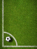 Soccer ball in corner kick position. Football field top view. — Stock Photo
