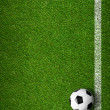 Soccer ball framed by white marking lines top view. Sport backgr — Stock Photo