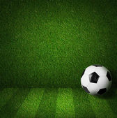 Soccer or football playing field side view with ball — Stock Photo