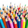 Colorful pencils as smiling faces isolated. Social networ — Стоковое фото