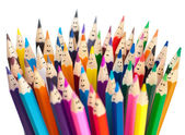Colorful pencils as smiling faces isolated. Social networ — Stock Photo