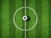 Soccer field center and ball top view background — Stock Photo
