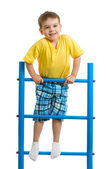 Happy kid boy on top of gymnastics ladder — Stock Photo