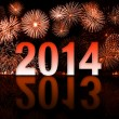 2013-2014 year switch with fireworks — Stock Photo
