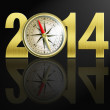 2014 new year digits with golden compass illustration - Стоковая фотография