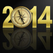 Stock Photo: 2014 new year digits with golden compass illustration