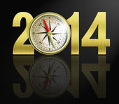 2014 new year digits with golden compass illustration — Stock Photo