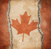 The Maple Leaf flag of Canada on ripped paper — Stockfoto