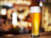 Cold beer glass on bar or pub desk — Stock Photo