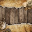 Old map background with compass. Adventure or discovery concept. — Stock Photo
