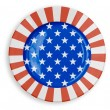 USA or American flag  plate, fork and knife top view isolated — Stock Photo