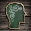 Human brain work drawn by chalk on blackboard — Stock Photo
