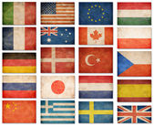Grunge flags: USA, Great Britain, Italy, France, Denmark, German — Stock Photo