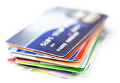 Credit cards stack on white — Stock Photo