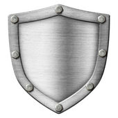 Shield made from metal over white — Stock Photo
