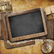 Treasure map, blackboard and old compass. Nautical still life. A — Stock Photo #28212813