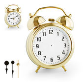 Alarm clock DIY kit from gold metal. Clipping paths for each arr — Stockfoto