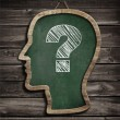 Human head chalkboard with question mark concept — Stock Photo #28330293