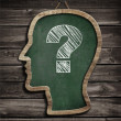 Human head chalkboard with question mark concept — Stock Photo