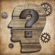 Stock Photo: Human head silhouette with question mark concept