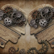 Two wooden heads with gears coming into collision concept — Stock Photo