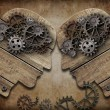 Two wooden heads with gears coming into collision concept — Stock Photo #28542775
