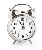 Silver alarm clock showing twelve hours with clipping path with — Stock Photo