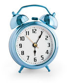 Alarm clock showing six hours with clipping path with no shadows — Stock Photo