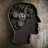 Brain work concept: gears and cogs from old rusty metal — Stock Photo