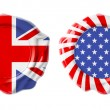 British and USA guarantee seals isolated on white — Stock Photo